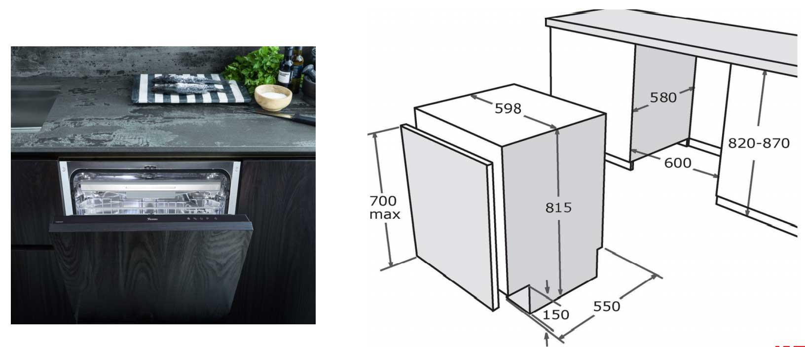 kích thước Máy rửa bát âm tủ Texgio BI036T