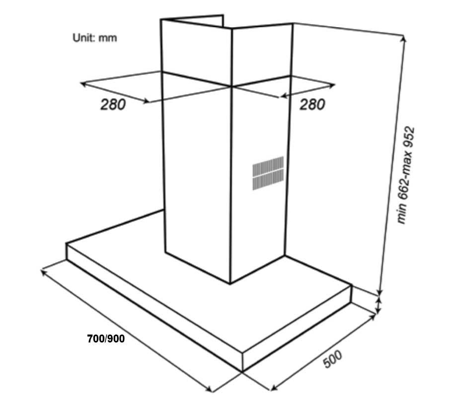 Kích thước máy Hút mùi Spelier SPM 110 Slim